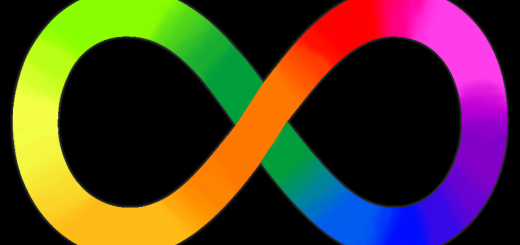 A rainbow gradient infinity sign on a black background